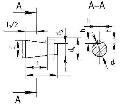 Размеры концов входных валов цилиндрического горизонтального редуктора РК