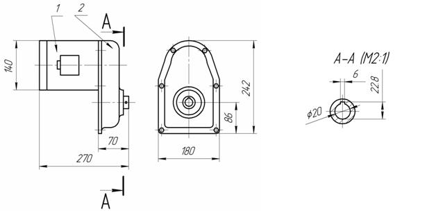 Габаритные и присоединительные размеры редуктора РВЦ-80